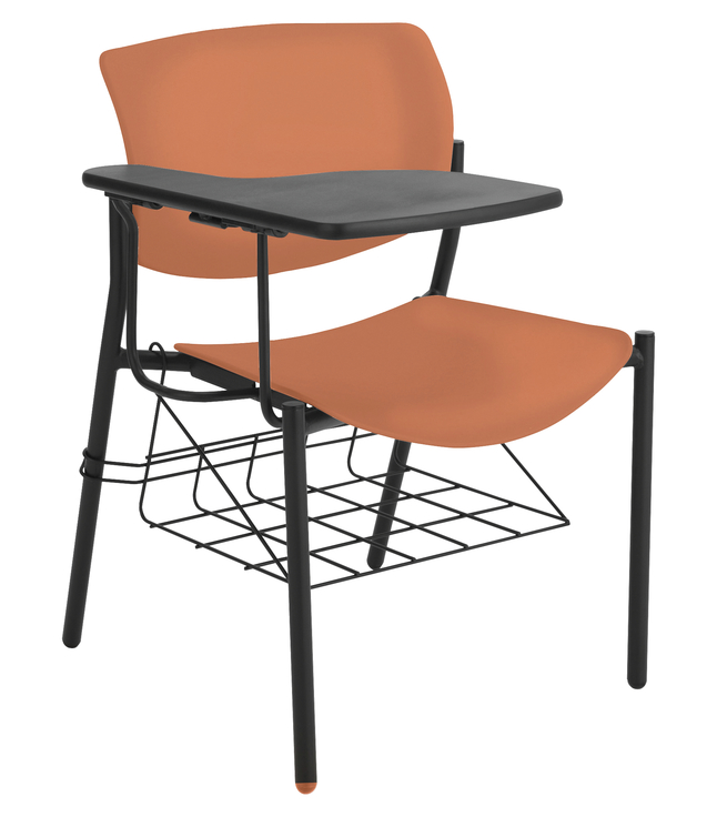 Lorell Student Chair With Writing Tablet 21 1 2 X 25 33 Inches Orange Case Of