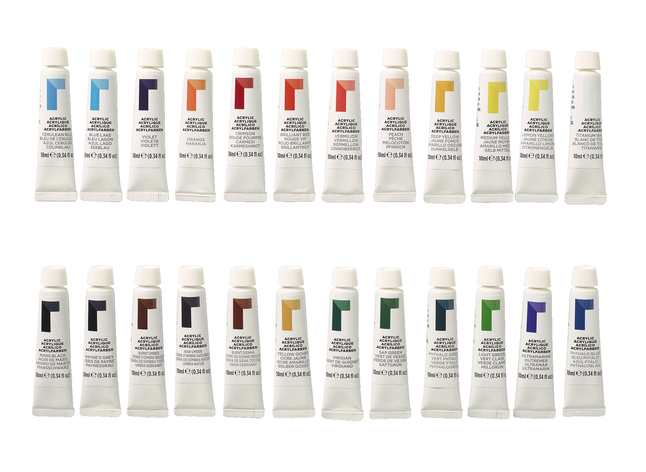 Reeves Acrylic Paints, 0 34 Ounce Tubes, Assorted Colors, Set of 24
