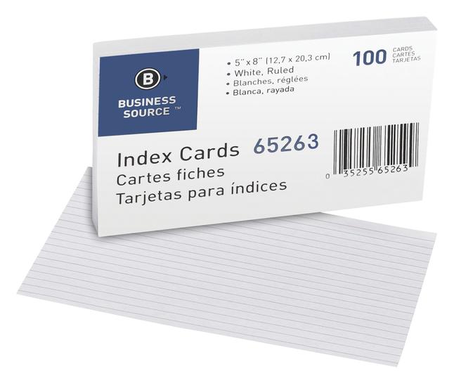 5x8 Ruled Index Cards, Item Number 1600292