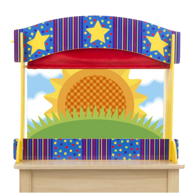 Melissa & Doug Colorful Wooden Tabletop Puppet Theater