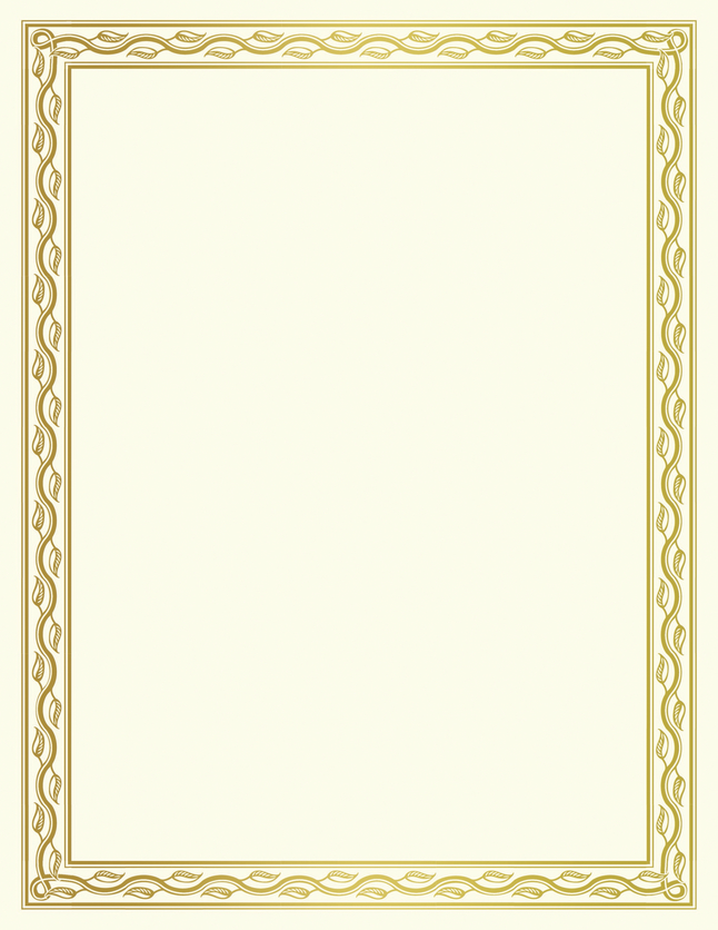 graphic relating to Printable Foil Paper called Geographics Printable Certification, 11 x 8-1/2 inches, Serpentine, Gold Foil, Pack of 12