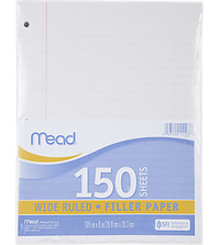 Notebooks, Loose Leaf Paper, Filler Paper, Item Number 2002879