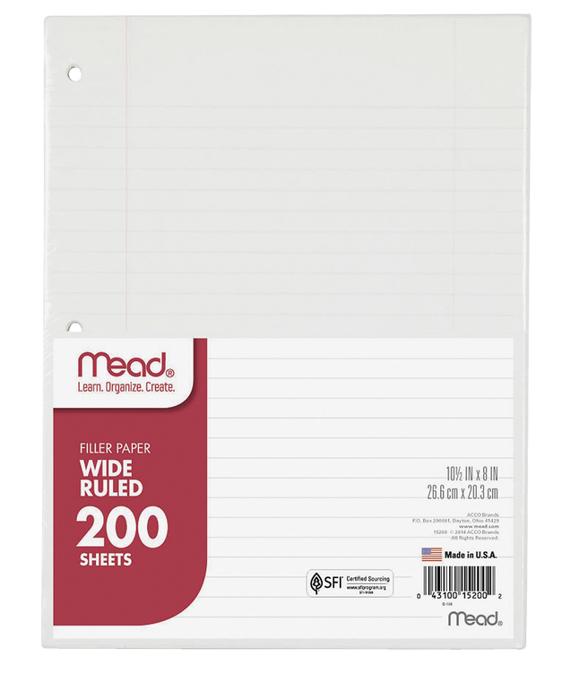 Notebooks, Loose Leaf Paper, Filler Paper, Item Number 2002882