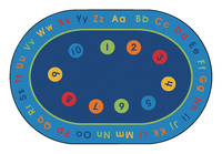 Image for Carpets for Kids Basic Concepts Literacy Carpet, 6 Feet 9 Inches x 9 Feet 5 Inches, Oval from School Specialty