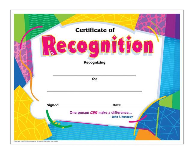 Award Certificates, Item Number 2003458