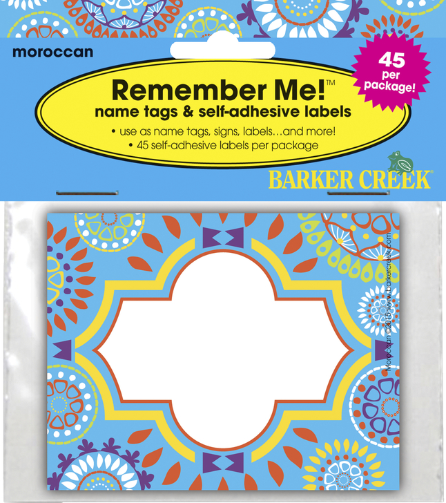Barker Creek Moroccan Name Tags, Self-Adhesive, 3-1/2 x2-3/4 Inches, Pack  of 45