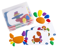 EDX Education Sorting and Stacking Rainbow Pebbles, 36 Pieces and 20 Double-Sided Activity Cards Item Number 2005731