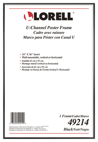 "Image for Lorell U-channel Poster Frame -- Frame, Poster, Wall Display Only, 24""Wx36""H, Black from School Specialty"