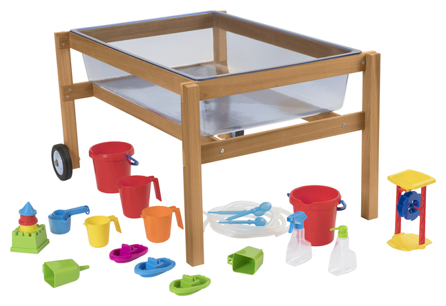 Childcraft Outdoor Sand And Water Table With Clear Tub And Accessories 42 3 8 X 30 1 8 X 24 Inches
