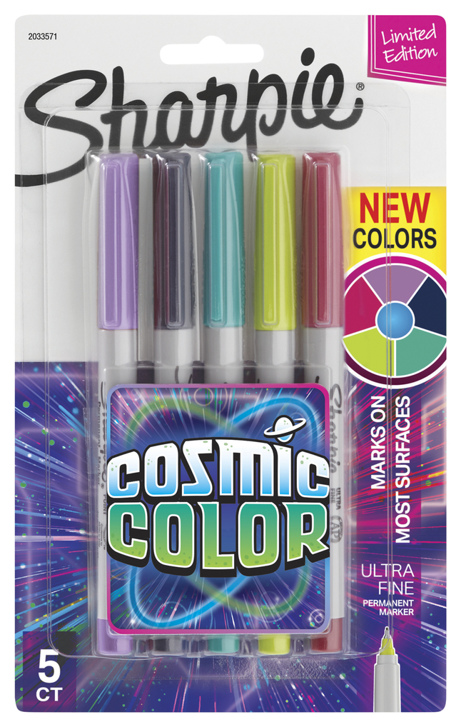 Image for Sharpie Cosmic Color Permanent Marker, Ultra Fine, Assorted, Set of 5 from School Specialty