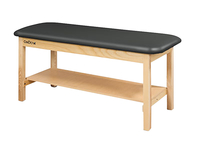 Image for CanDo® Treatment Table w/Flat Top and Shelf, 72 x 30 x 31 Inches, Natural Wood/Black Upholstery from SSIB2BStore