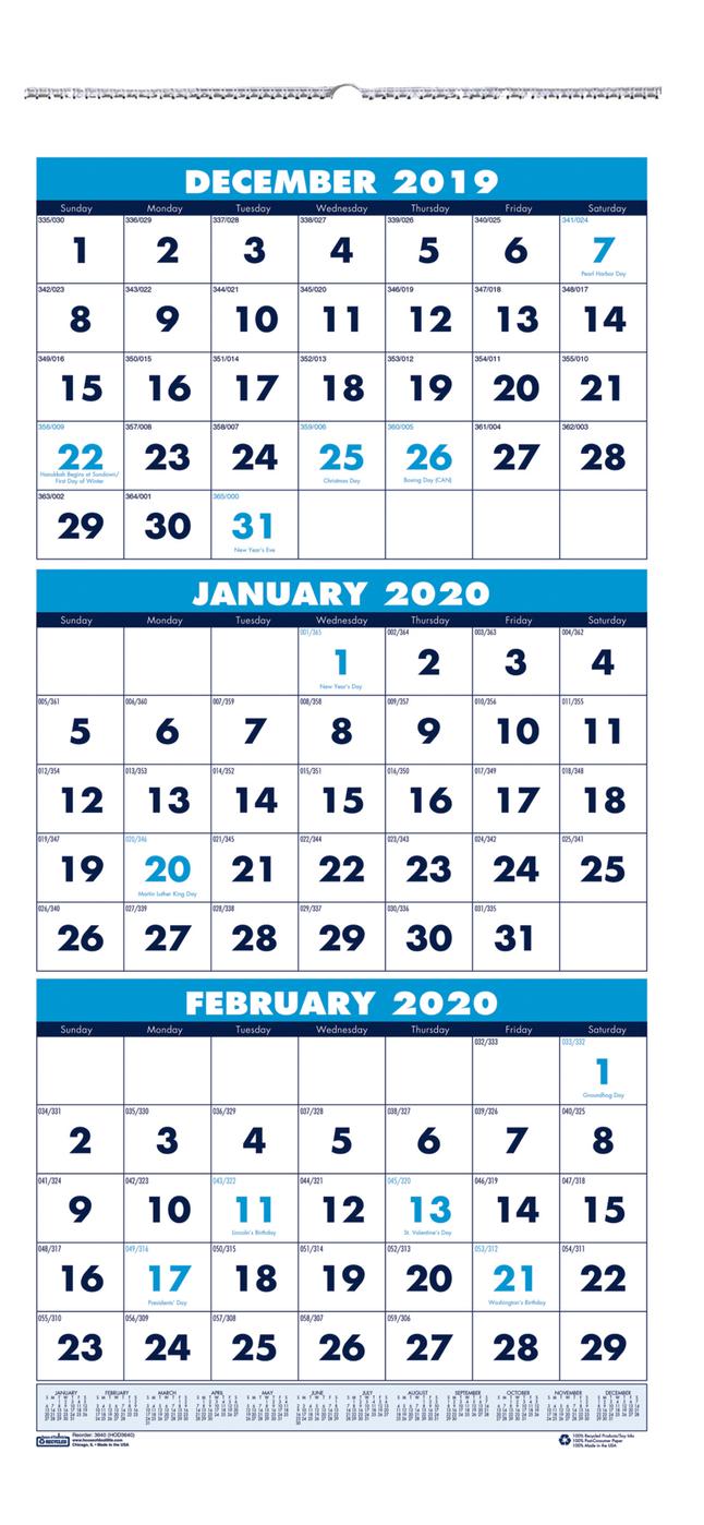 3 Month Wall Calendar 2020 House of Doolittle 3 Month Vertical Wall Calendar, 2020, 12 1/4 x 26