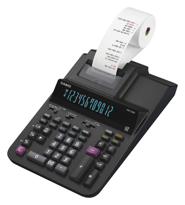Image for Casio Pre-Tax Calculator, DR-120R, Black/White. Each from School Specialty