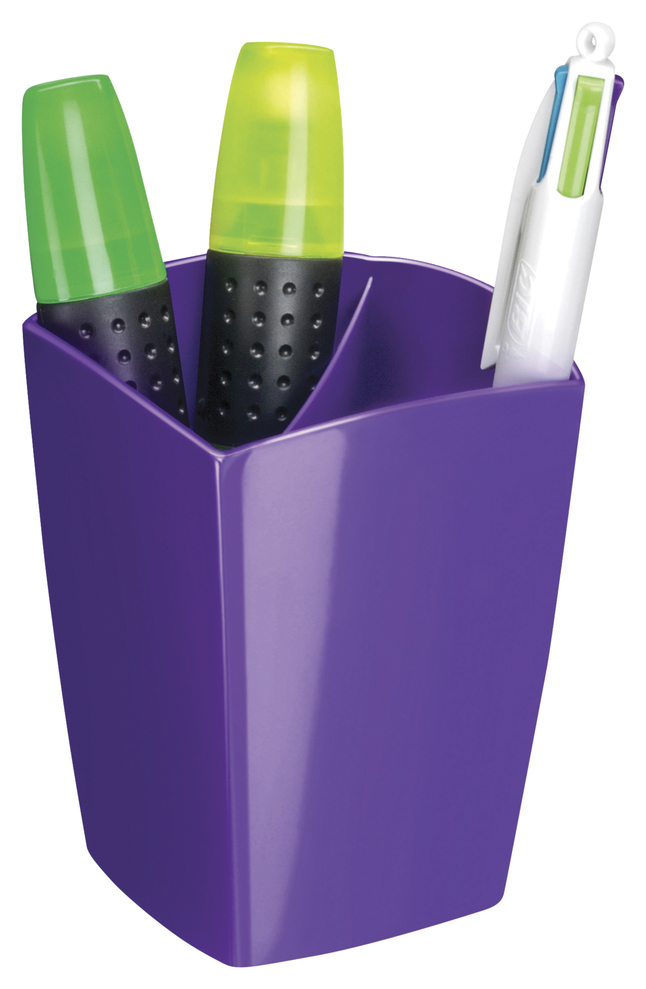 """Image for CEP Large Pencil Cup -- Pencil Cup, Freestanding, 2-9/10""""Wx2-9/10""""Lx3-3/4""""H, Purple from School Specialty"""