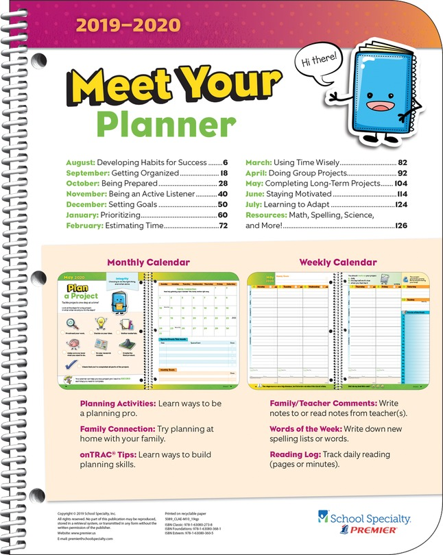 Premier Classic Elementary Student Planner, Matrix, 8 x 10 Inches, 2019 to  2020