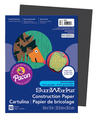 SunWorks Heavyweight Construction Paper, 9 x 12 Inches, Black, Pack of 50 Item Number 201183