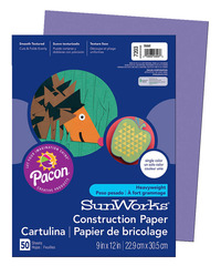 SunWorks Heavyweight Construction Paper, 9 x 12 Inches, Violet, Pack of 50 Item Number 201189