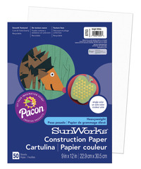 SunWorks Heavyweight Construction Paper, 9 x 12 Inches, Bright White, Pack of 50 Item Number 201190