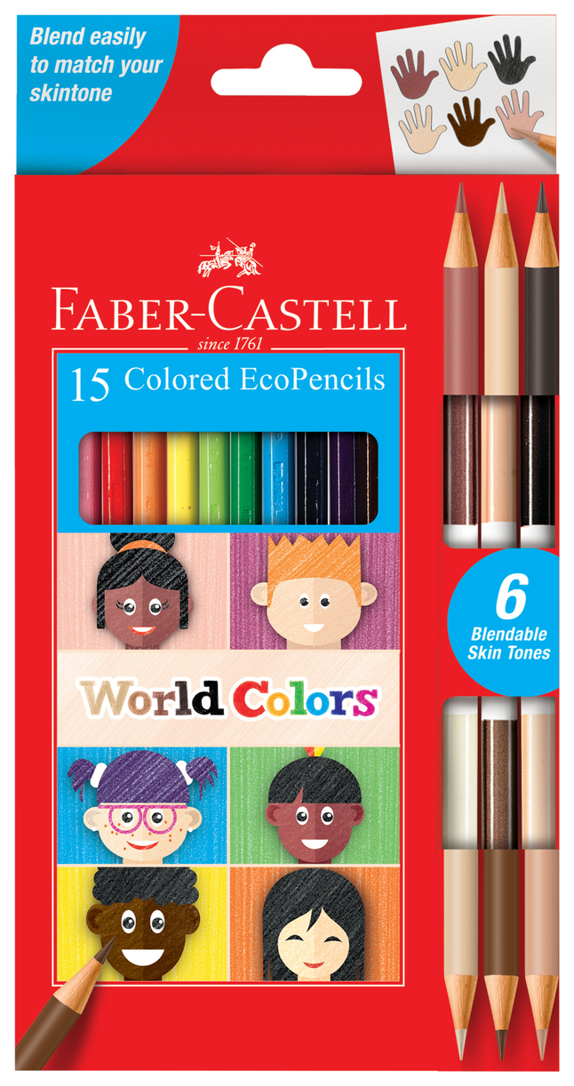 Faber-Castell World Colors Colored Pencils, Set of 15 Traditional and  Diverse Skin Tone EcoPencils