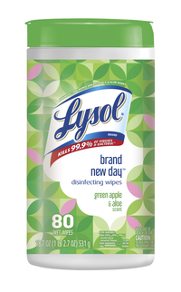 Image for Lysol Disinfecting Wipes, Brand New Day, Green Apple & Aloe, 80 Count, Pack of 6 from SSIB2BStore