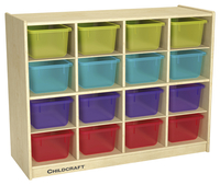Image for Childcraft Cubby Unit, 16 Translucent Color Trays, 38-3/8 x 13 x 30 Inches from School Specialty