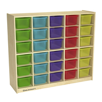 Image for Childcraft Mobile Cubby Unit, 30 Translucent Color Trays, 47-3/4 x 13 x 42 Inches from School Specialty