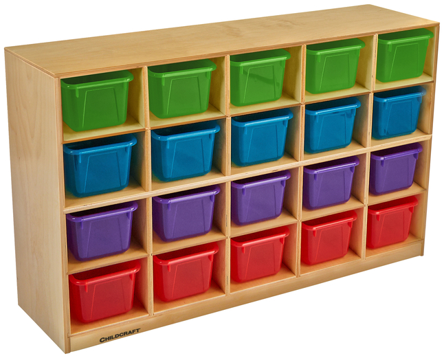 Image for Childcraft Mobile Cubby Unit, 20 Translucent Color Trays, 47-3/4 x 13 x 30 Inches from School Specialty