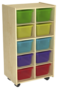 Image for Childcraft Mobile Cubby Unit With Locking Casters, 10 Translucent Color Trays, 19-3/4 x 14-1/4 x 36 Inches from School Specialty