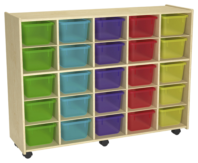 Image for Childcraft Mobile Cubby Unit With Locking Casters, 25 Translucent Color Trays, 47-3/4 x 14-1/4 x 36 Inches from School Specialty