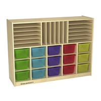 Image for Childcraft Mobile Small Tray Portfolio Center, 15 Translucent Color Trays, 47-3/4 x 13 x 36 Inches from School Specialty