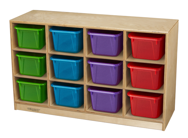 Image for Childcraft Toddler Mobile Cubby Unit, 12 Translucent Color Trays, 38-3/8 x 13 x 24 Inches from School Specialty