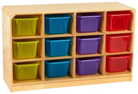 Image for Childcraft Korners for Kids Toddler Mobile Cubby Unit, 12 Translucent Color Trays, 38-3/8 x 13 x 24 Inches from School Specialty