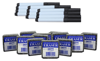 Image for Flipside Dry Erase Pen and Eraser Pack, Black, Set of 24 from SSIB2BStore