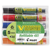 Image for Pilot V Board Master BeGreen Refillable Dry Erase Marker, Medium Chisel Tip, Assorted Colors, Set of 5 from School Specialty