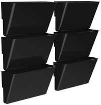 Image for Storex Magnetic Wall Pocket, Letter Size, Black, Pack of 6 from School Specialty