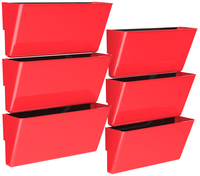 Image for Storex Magnetic Wall Pocket, Legal Size, Red, Pack of 6 from School Specialty