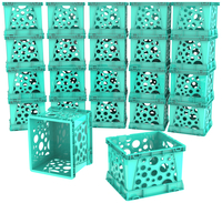 Image for Storex Micro Crate, 6-3/4 x 5-4/5 x 4-4/5 Inches, Teal, Pack of 18 from School Specialty