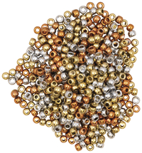 Creativity Street Pony Beads, Gold, Silver, and Copper, 6mm x 9mm, Set of 500 Item Number 2023197