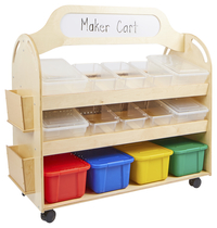 Image for Childcraft Mobile Makerspace Cart, Clear and Assorted Trays, 48-1/4 x 22-1/2 x 49 Inches from School Specialty