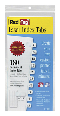 Image for Redi Tag Laser Printable Index Tabs, 1 Height x 0.43 Width Inches Tab Size, White, Pack of 180 from School Specialty