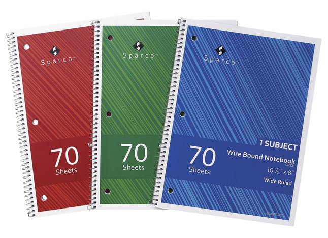 Image for Sparco Wirebound Notebook, 8 x 10-1/2 Inches, 1 Subject, Wide Ruled, 70 Sheets, Pack of 3 from School Specialty