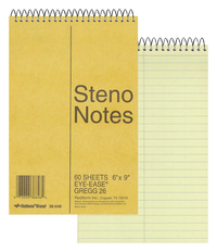 Image for Rediform Wirebound Steno Notebook, 6 x 9 Inches, 60 Sheets, Green and Yellow, Each from School Specialty