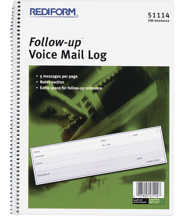 Image for Rediform Follow-Up Voice Mail Log Book, 8 x 10-5/8 Inches, 500 Sheets, White and Blue, Each from School Specialty