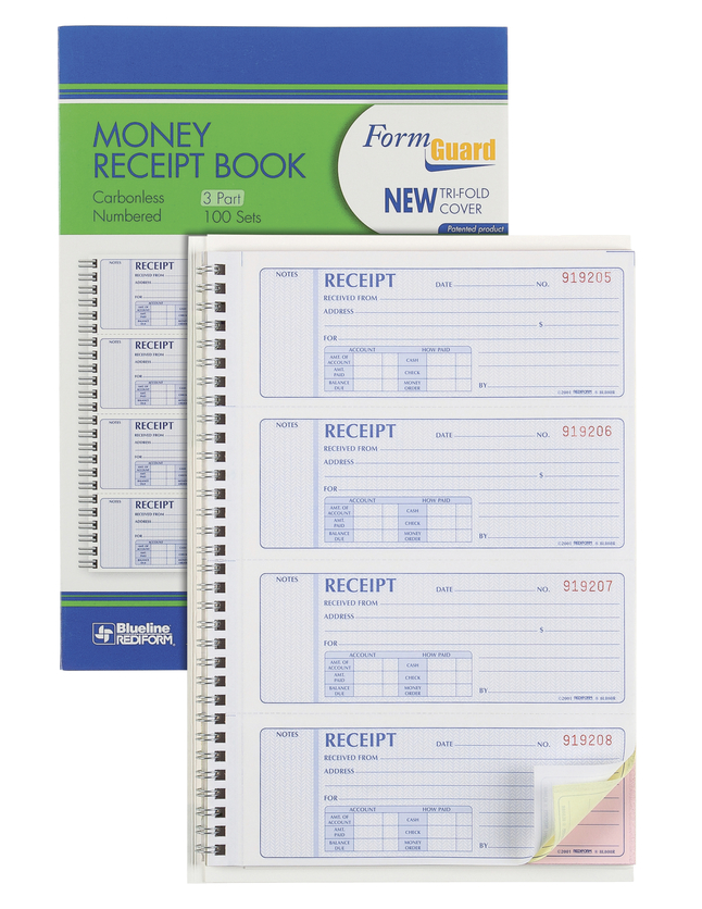Image for Rediform Prestige Money Receipt Book, 7-5/8 x 8-1/2 Sheet Size, 100 Sheets, Assorted Colors, Each from School Specialty