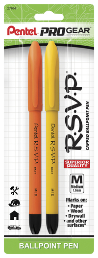 Image for Pentel PROGear R.S.V.P. 1.0mm Capped Ballpoint Pen, Pack of 2 from School Specialty