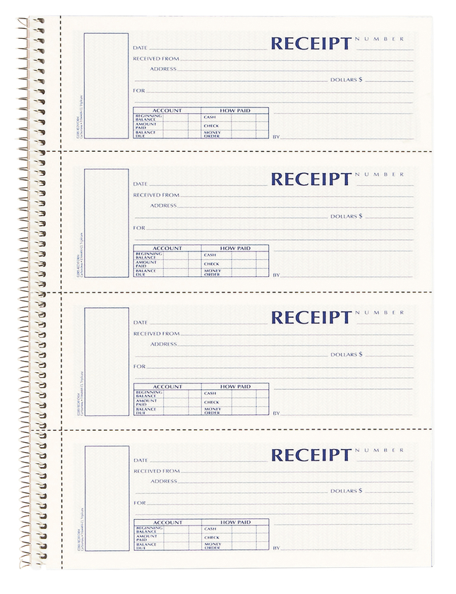 Image for Rediform 3-part Wirebound Money Receipt Book, Carbonless Copy, 2.75 x 7 Inches Form Size, White and Pink, Each from School Specialty