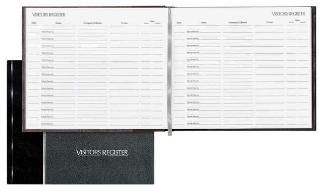Image for National Visitor's Register Book, 8-1/2 x 9-1/8 Sheet Size, 125 Sheets, White Sheets, Black Cover, Each from SSIB2BStore