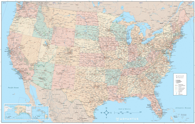 Image for Advantus Laminated USA Wall Map, Each from School Specialty