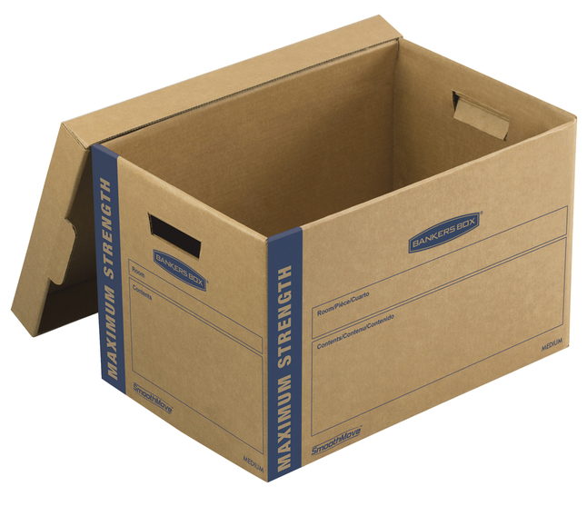 Image for Fellowes Bankers Box SmoothMove Maximum Strength Moving Boxes, Medium, 12 x 12.25 x 18.5 Inches, Pack of 8 from School Specialty