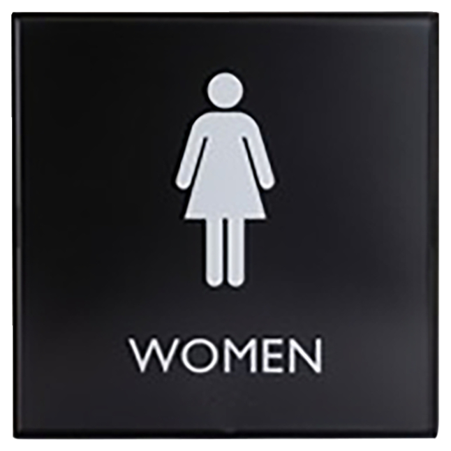 Image for Lorell Restroom Sign, 8 x 8 x 0.6 Inches, Black, Each from School Specialty